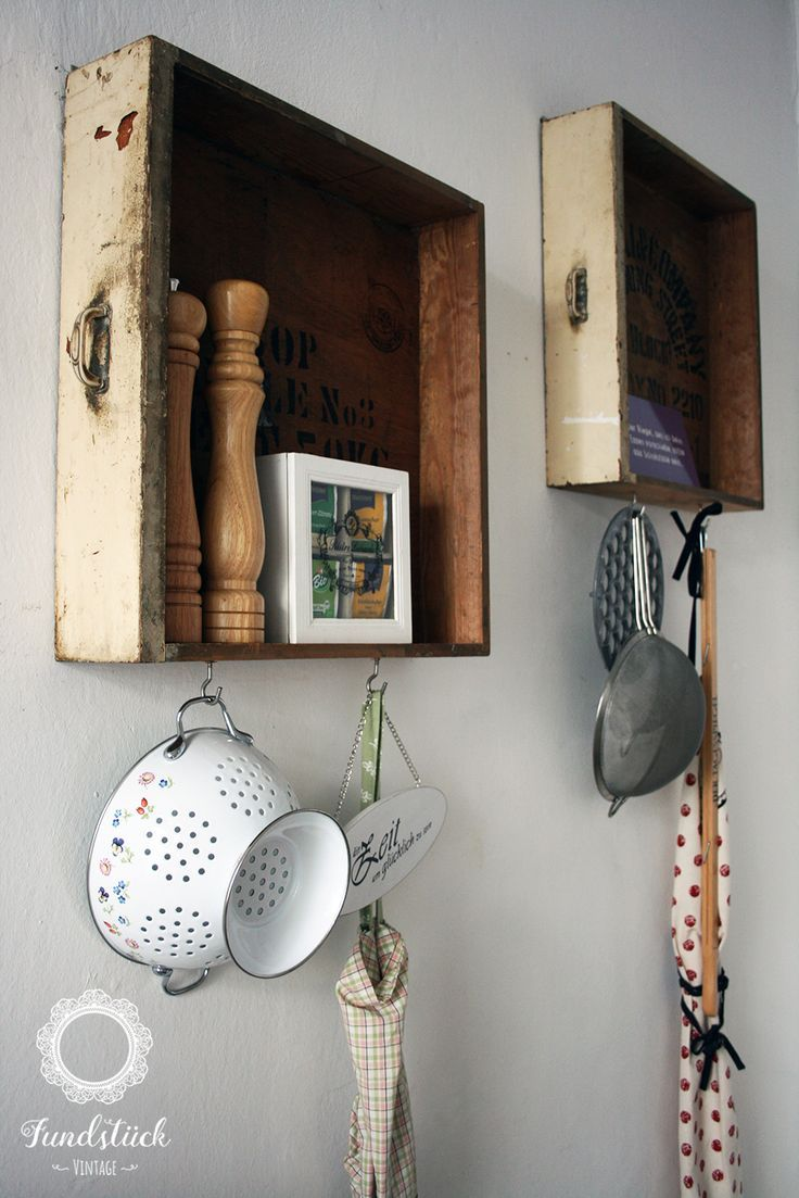 Diy Einrichtungsideen Old Wooden Drawer Used As Raks In The Kitchen For The Coffee Shop Feeling. | Wooden Drawers, Diy Furniture Flip, Drawers Repurposed