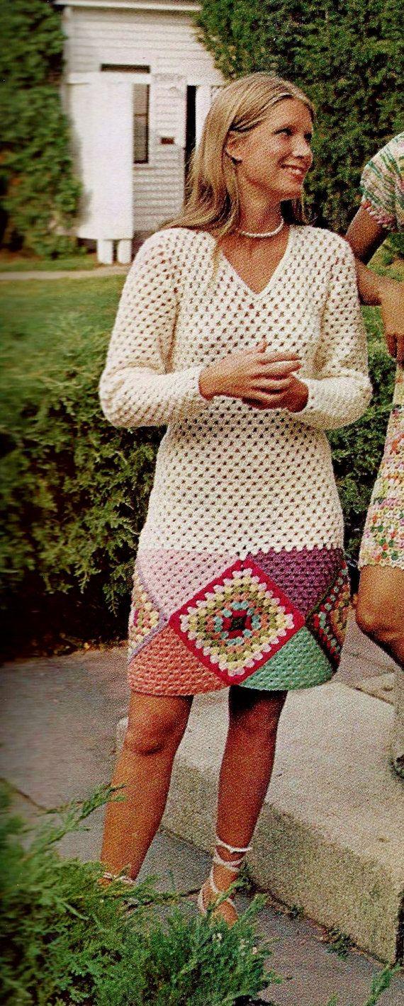 Vintage Boho Granny Square Bordered Mini Dress with Long Sleeves and V-Neckline PDF Crochet Pattern