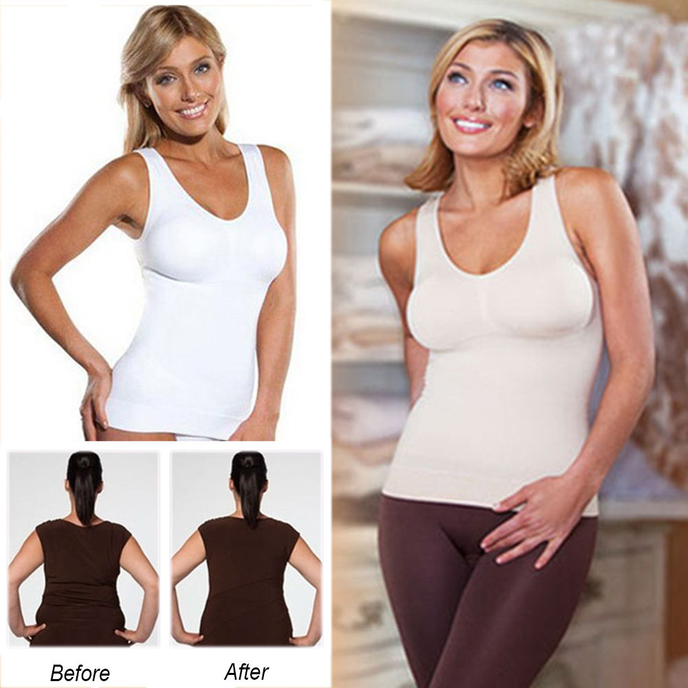 de7c6755df Womens Ladies Built In Bra Removable Padded Tank Top Camisole Cami Plus Size