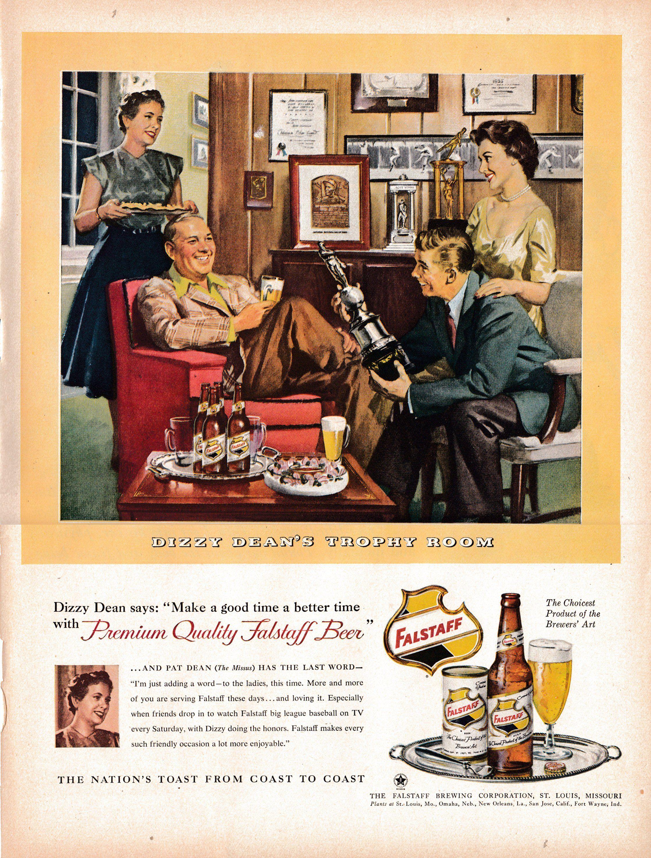 1954 Dizzy Dean's Trophy Room Falstaf BeerOriginal 13.5