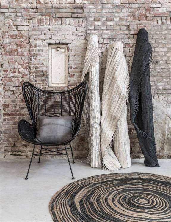 hk living tapis rond toile de jute naturel noir 200cm. Black Bedroom Furniture Sets. Home Design Ideas