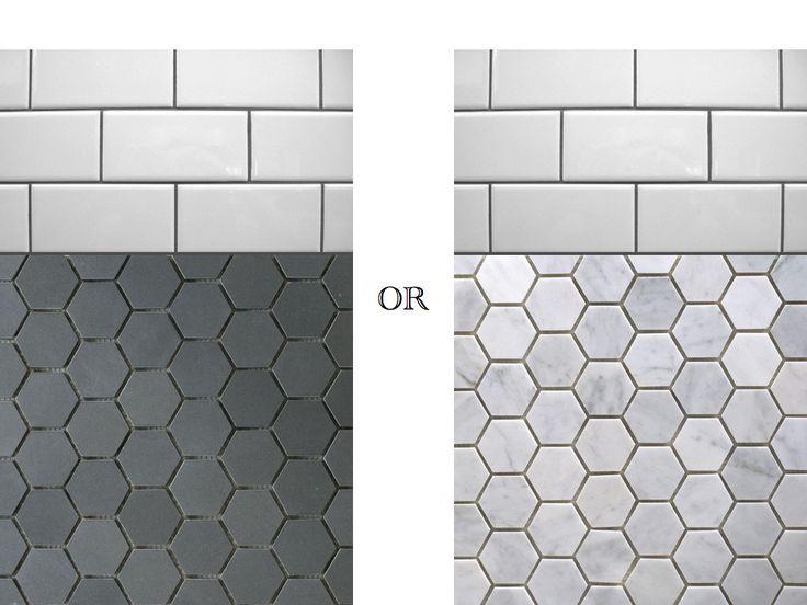 Gray Hexagon Floor Tiles Google Search More White Subway Tile Bathroom Subway Tiles Bathroom Hexagon Tile Bathroom Floor
