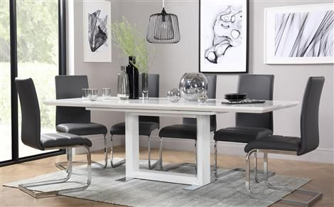 Dining Table With 6 Chairs Amazing Tokyo White High Gloss