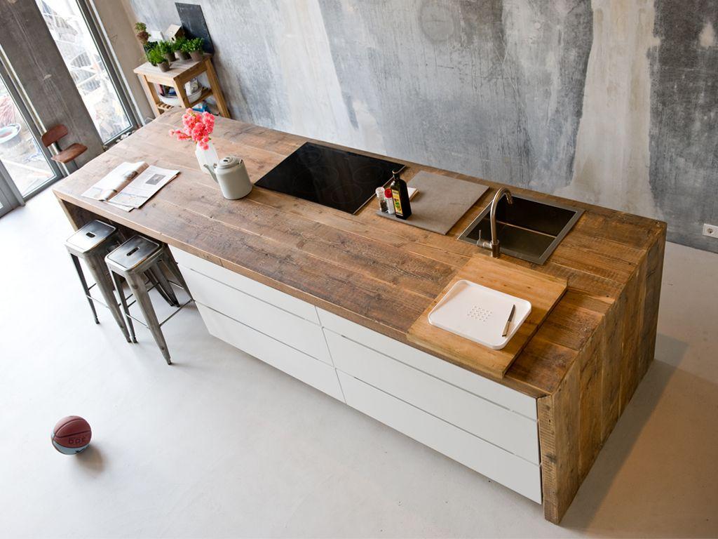 Houten keukenblad keuken kitchen design dining