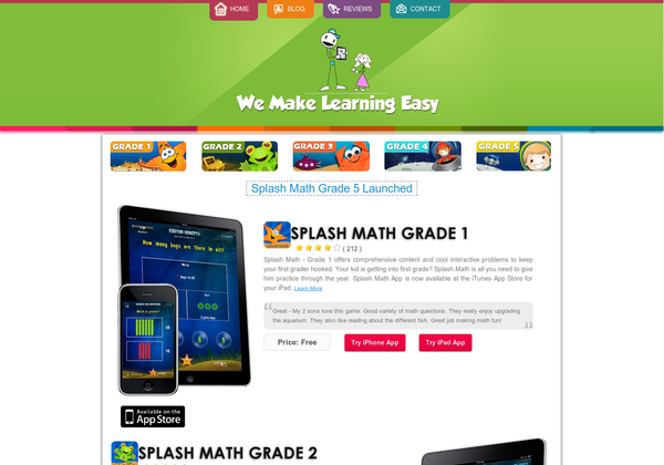 Splash Math Apps for iPad and iPhon for Grade 1 to 5