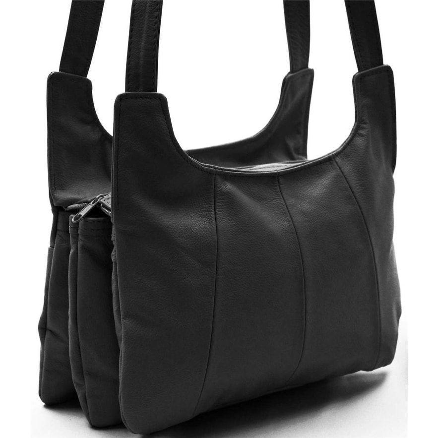 b2219fa7f8c AFONiE Multi Pocket Soft Mexican Leather Hobo Handbag (Black ...