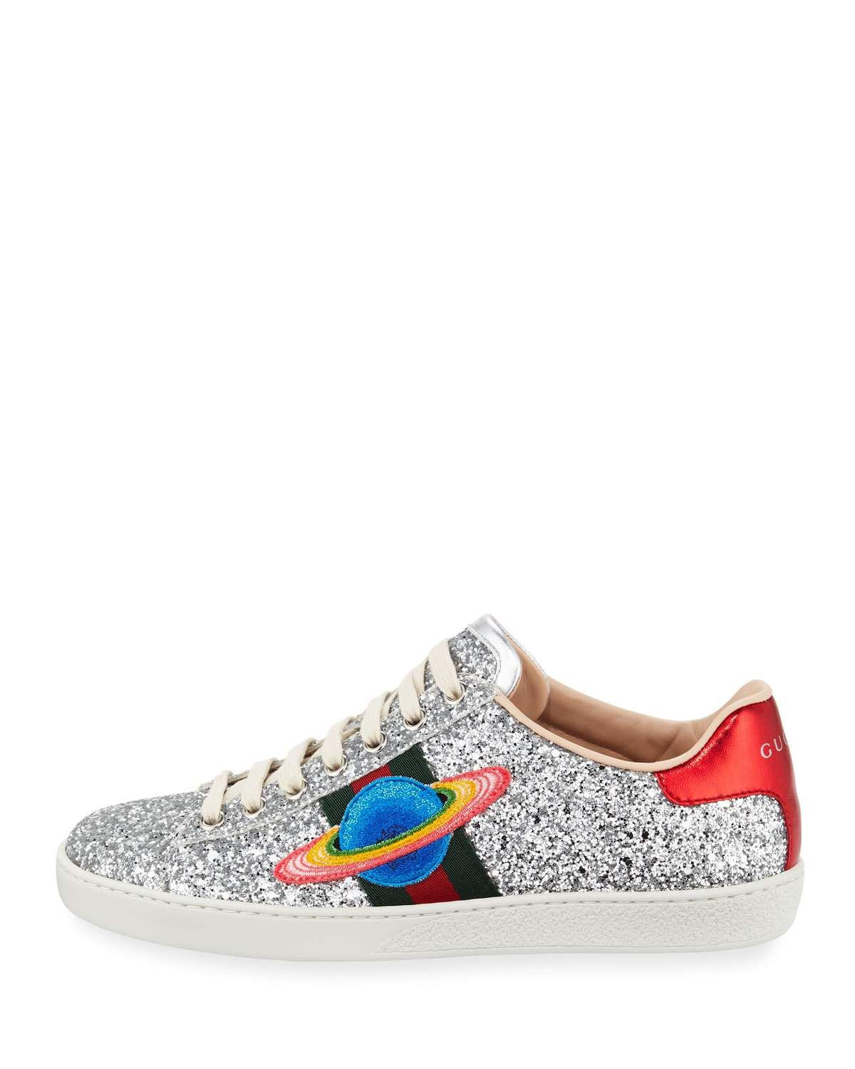 39046ee1a80d6 Shop All Women s Designer Shoes at Neiman Marcus. Gucci Ace Saturn Glitter  Low-Top Sneaker