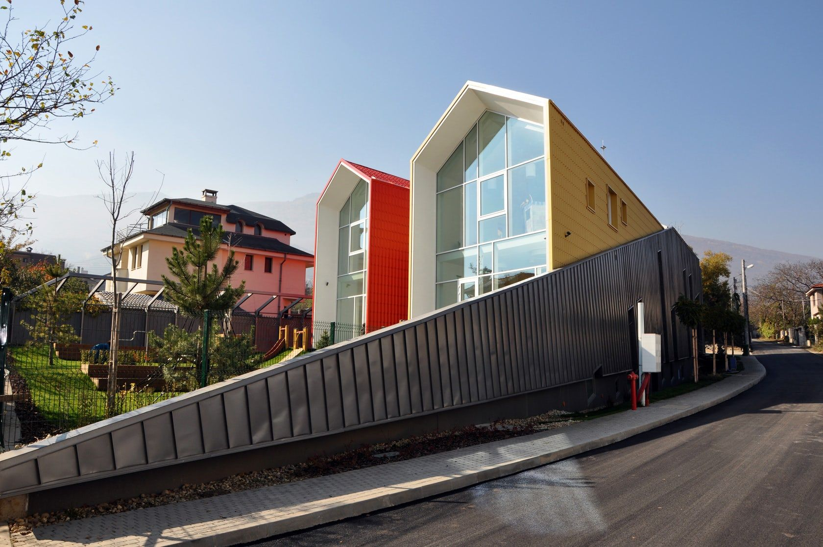 Kita Is A Private Kindergarten Built In Dragalevtzi Neighborhood Sofia The Concept Idea For The Kindergarte Residential Architecture Architecture Red Houses