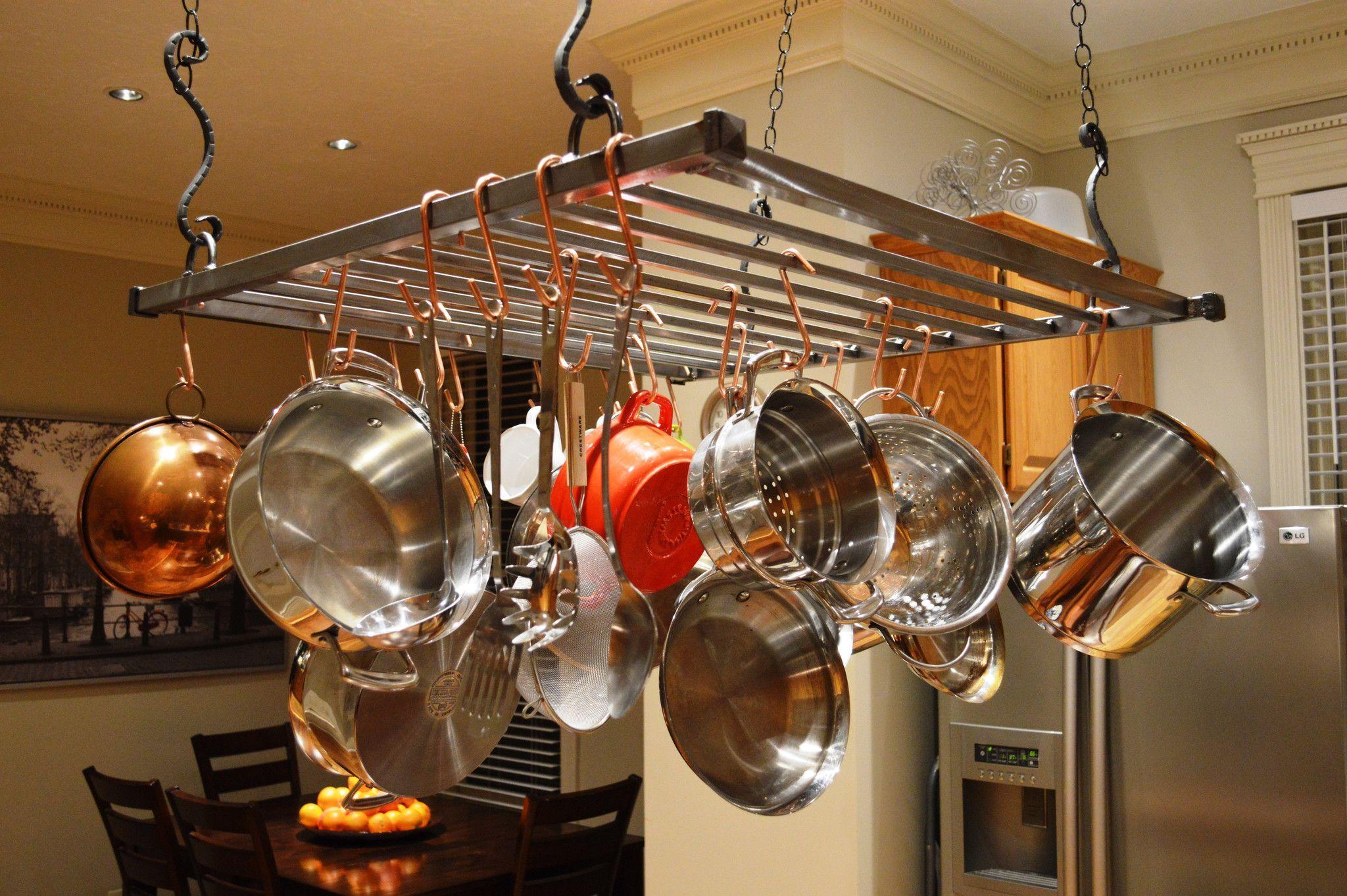 Modern Hanging Pot Rack - Large | Pot rack hanging, Pot ...