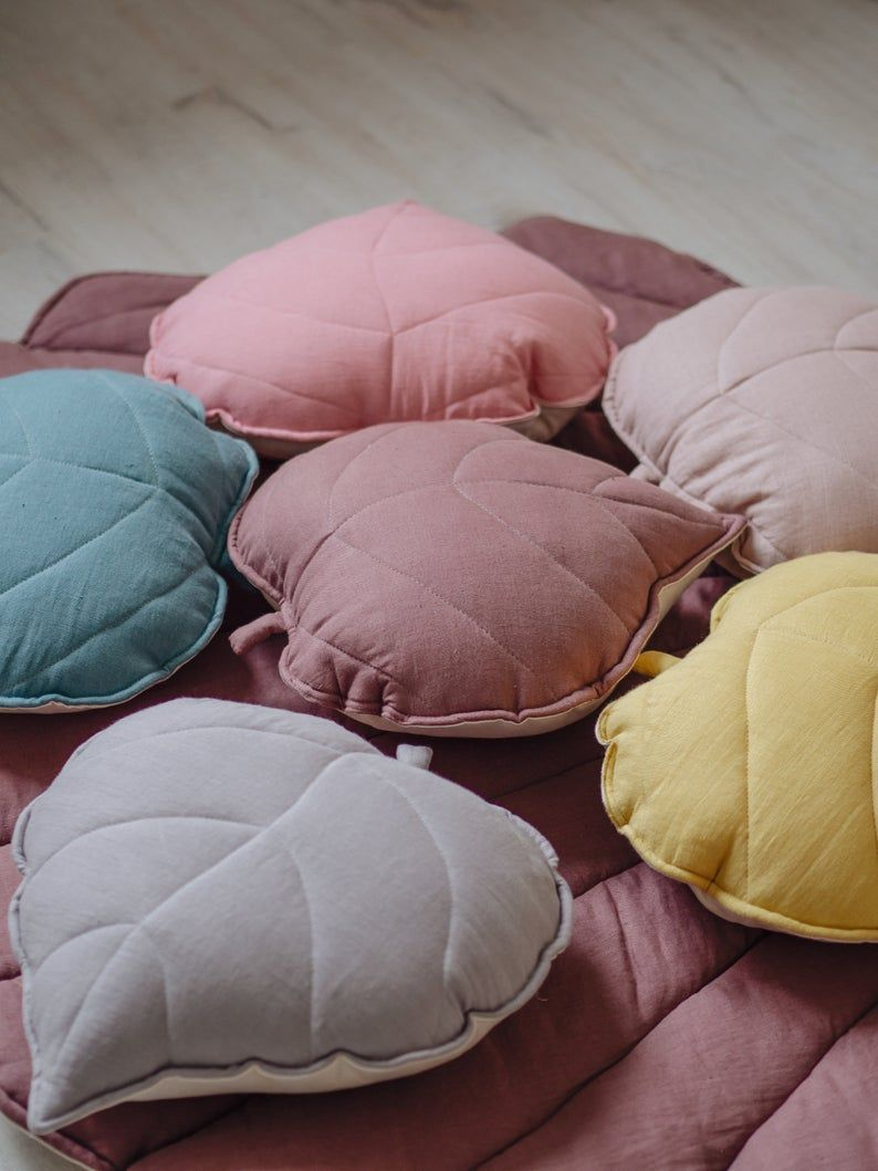Linen LEAF CUSHION/ leaf pillow in 6 colors