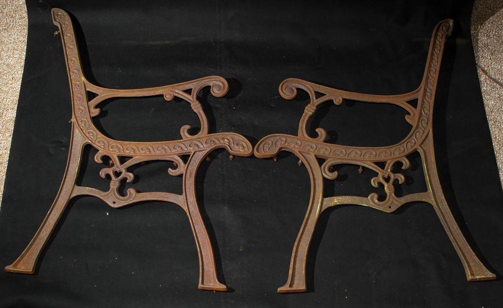 Ornate Heart Vintage Industrial Cast Iron Park Bench Ends Custom