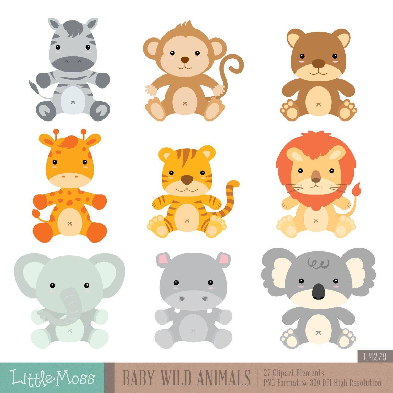 Baby Wild Animals Digital Clipart Rostos de animais
