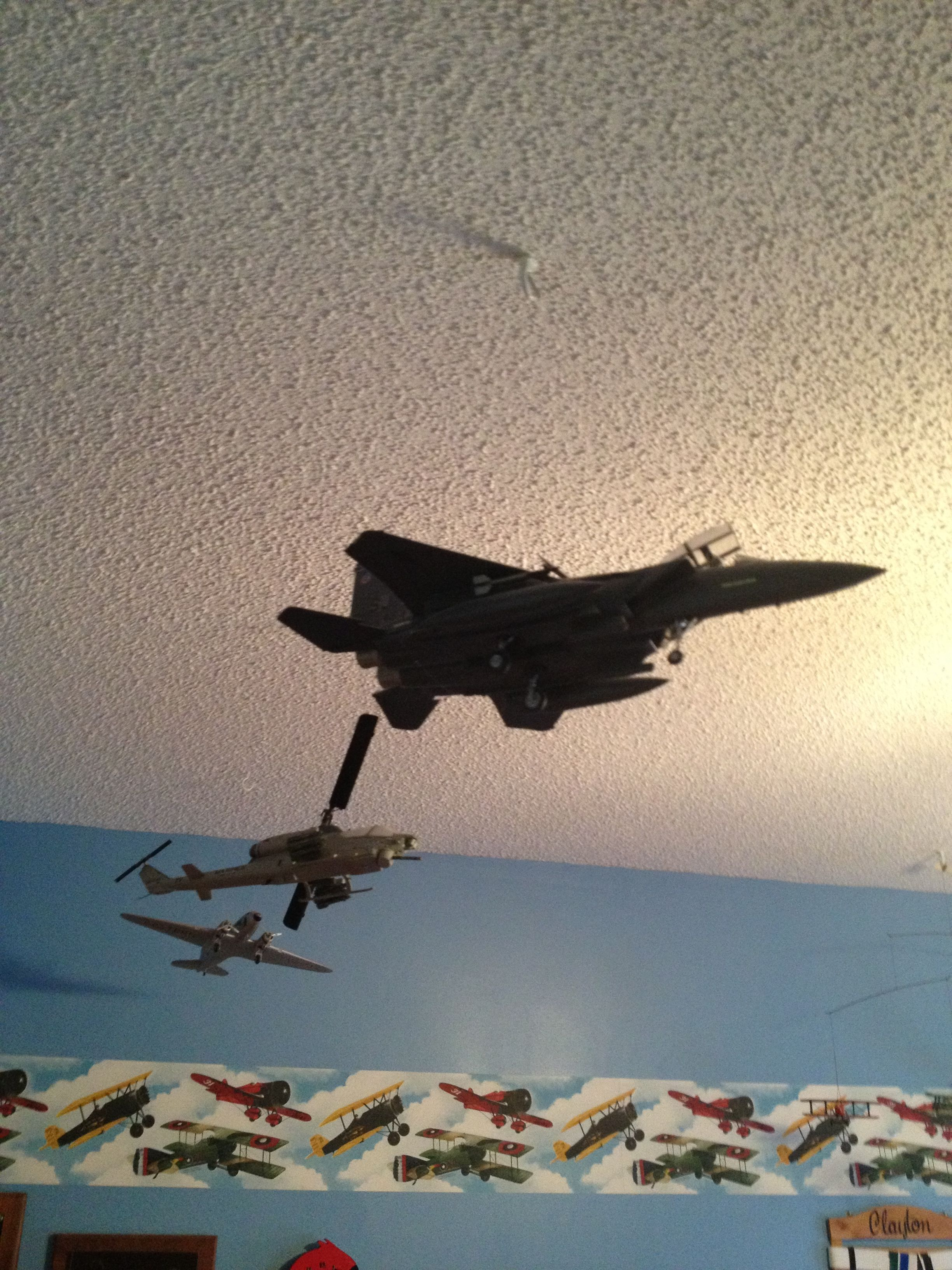 Boys Bedroom Idea Hang Model Airplanes From The Ceiling