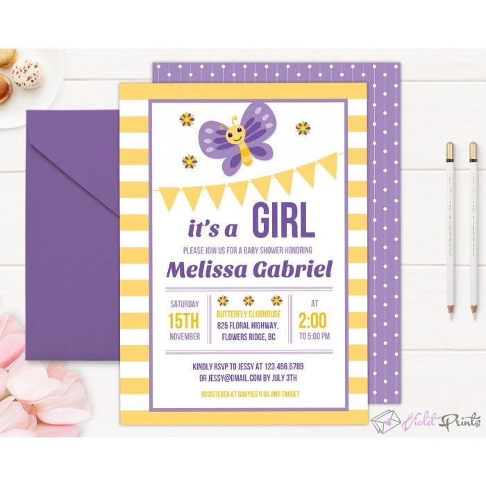 Butterfly Girl Baby Shower Invitation Template | Baby Shower ...
