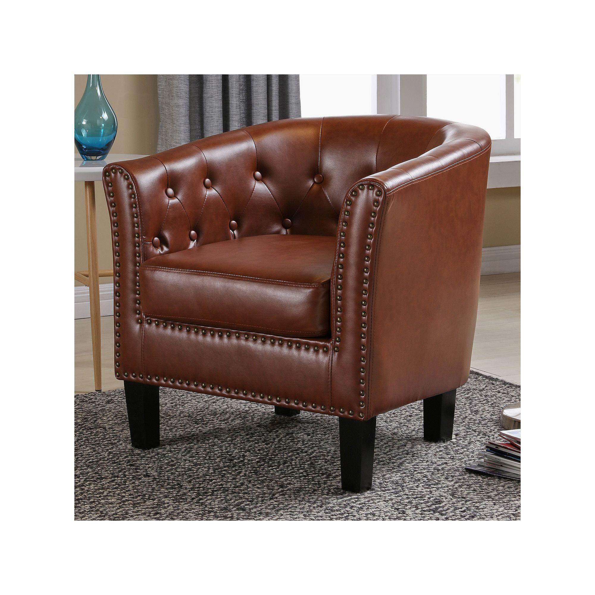 Lincoln Tufted Tub Accent Chair, Med Brown