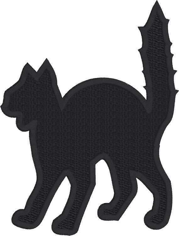 Halloween applique, Cat applique embroidery design download for embroidery machine, Halloween, scardy cat, scary cat, black, spooky