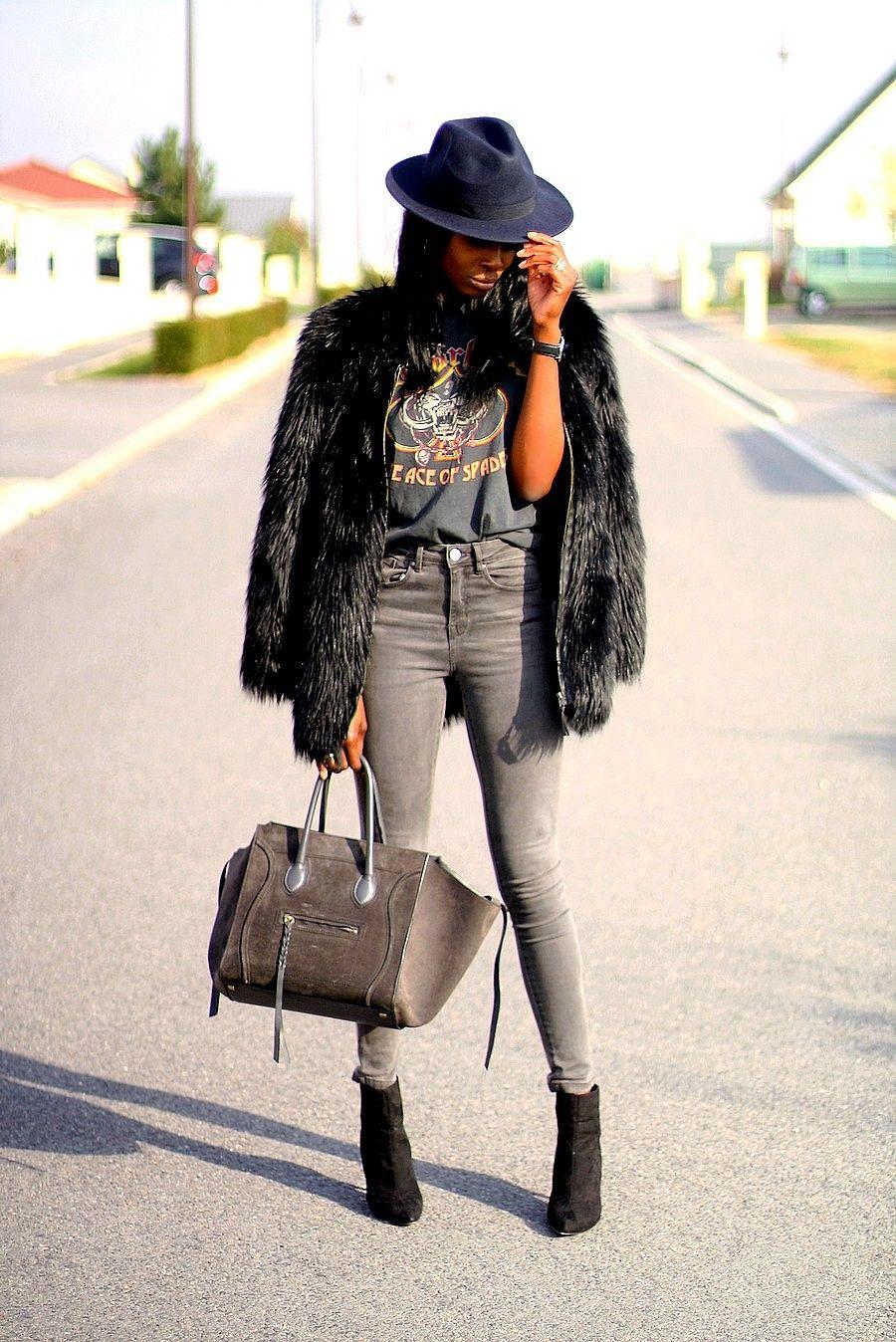 T Jeans Phantom Haute Celine Fourrure Taille Shirt Manteau Fausse Ootd Imprimé tx8wZ48q
