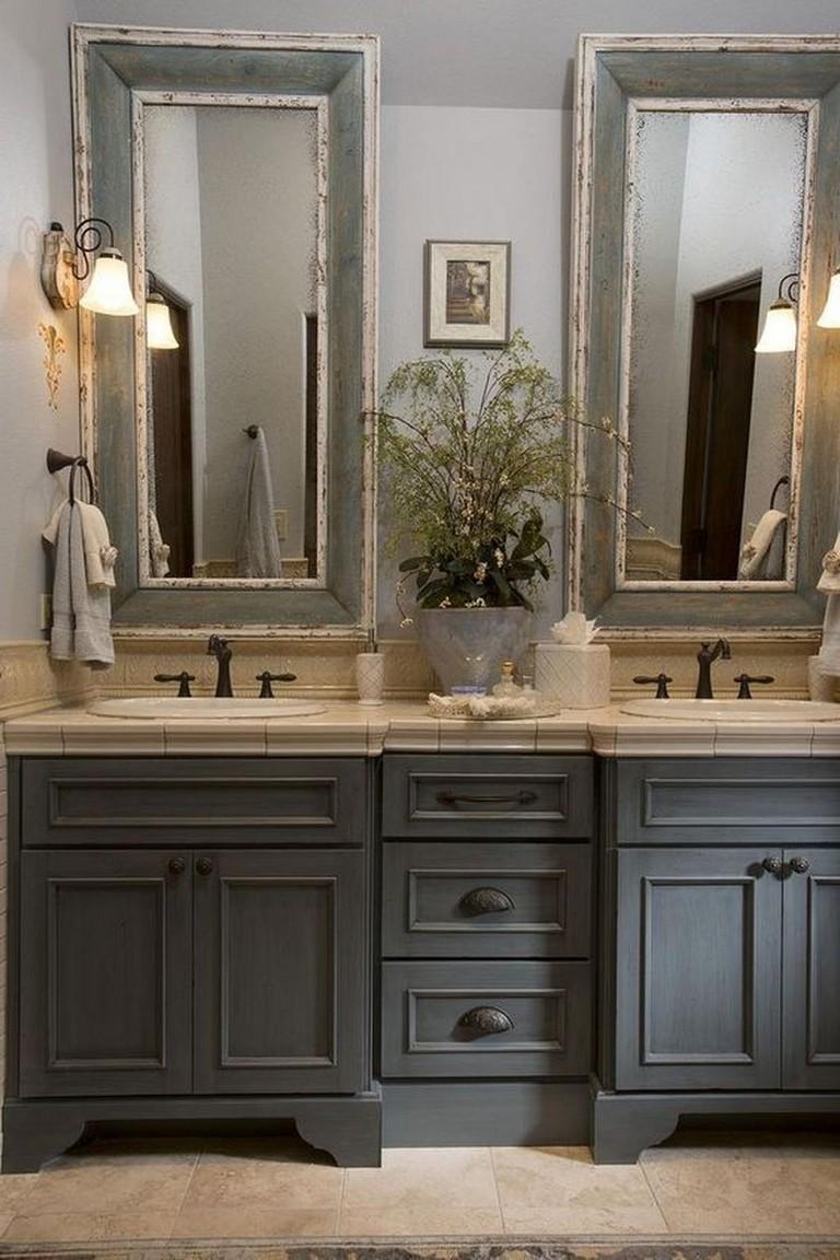 45 Wonderful Bathroom Cabinet Paint Color Ideas Bathroomcabinets Bathroompain In 2020 Elegant Bathroom Country Bathroom Mirrors French Country Bathroom