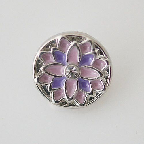 1 PC - 12MM Purple Pink Flower Enamel Rhinestone Silver Snap Candy Charm kb6611-s CC1974
