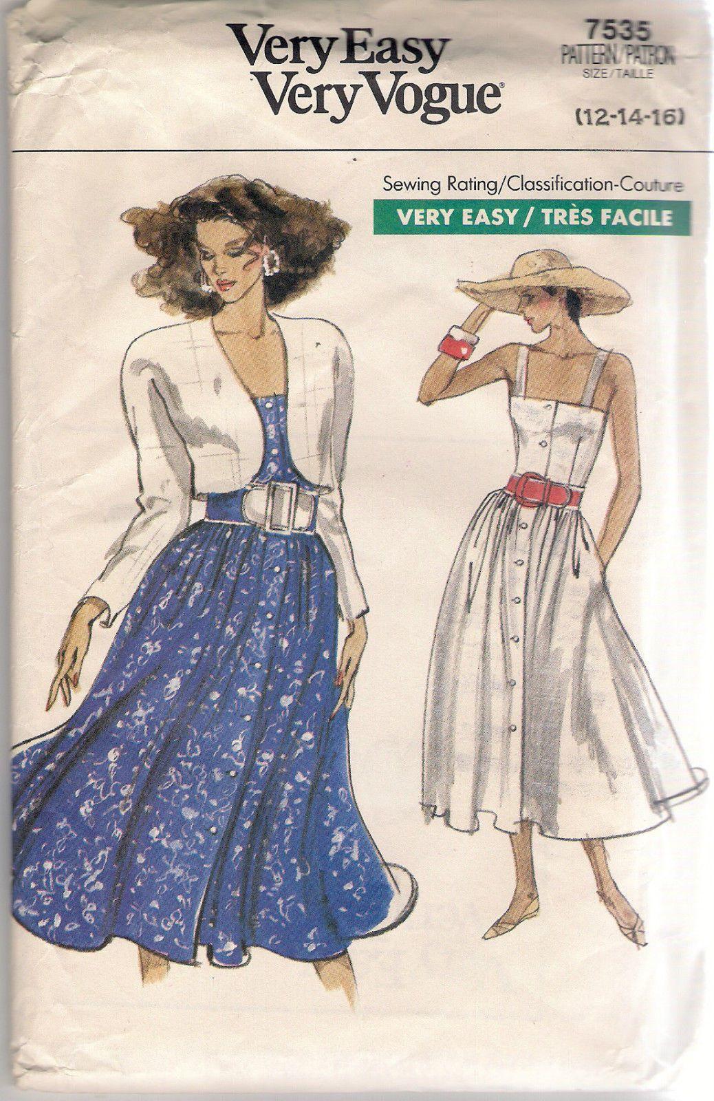Vogue sewing pattern dress and jacket size uncut