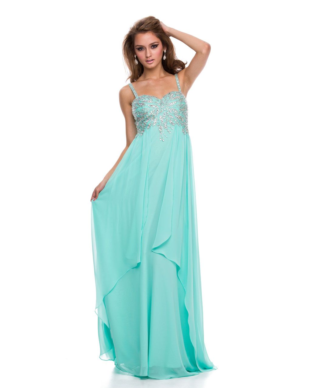 2014 Prom Dresses - Mint Green Tiered Chiffon & Beaded Gown - Unique Vintage - Prom dresses, retro dresses, retro swimsuits.