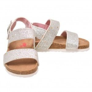 36943831e69373 Rugged Bear Little Girls Silver Glitter Buckle Strap Cork Sandals 6-10  Toddler