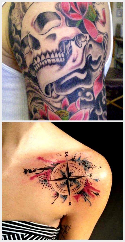 Photo of tatouage aquarelle demi-manche de crâne – lotus, nuages, graine de lotus, fleur