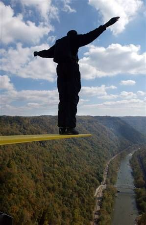 base jumping off New River Gorge Bridge in WV