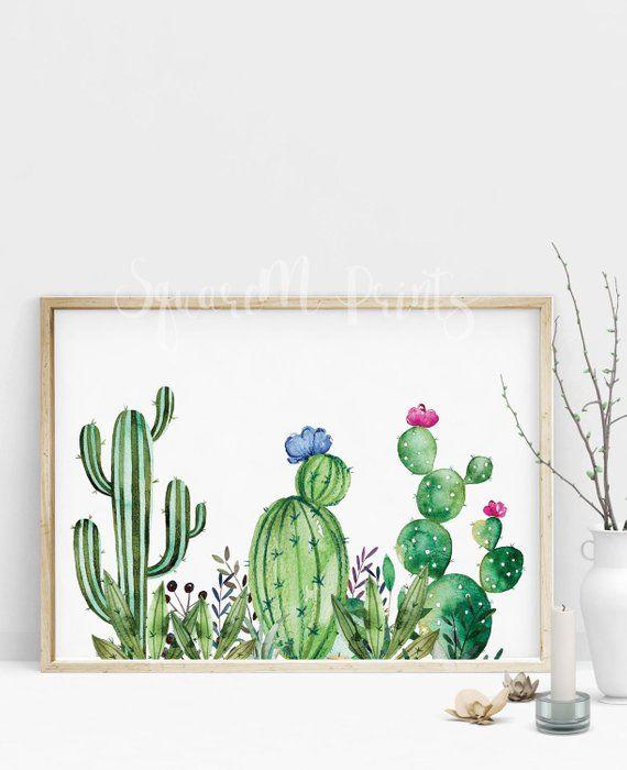 CACTUS Watercolor Print, Succulent Wall Art, Nopales Art, Mammillaria Cactus Watercolor Poster, Cactus Decor, Saguaro Cactus, Digital Print