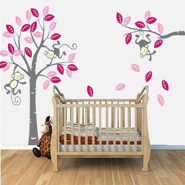 Muursticker boom met 3 slingerende aapjes fuchsia roze grijs kinderkamer pinterest roze - Kinderkamer grijs en roze ...