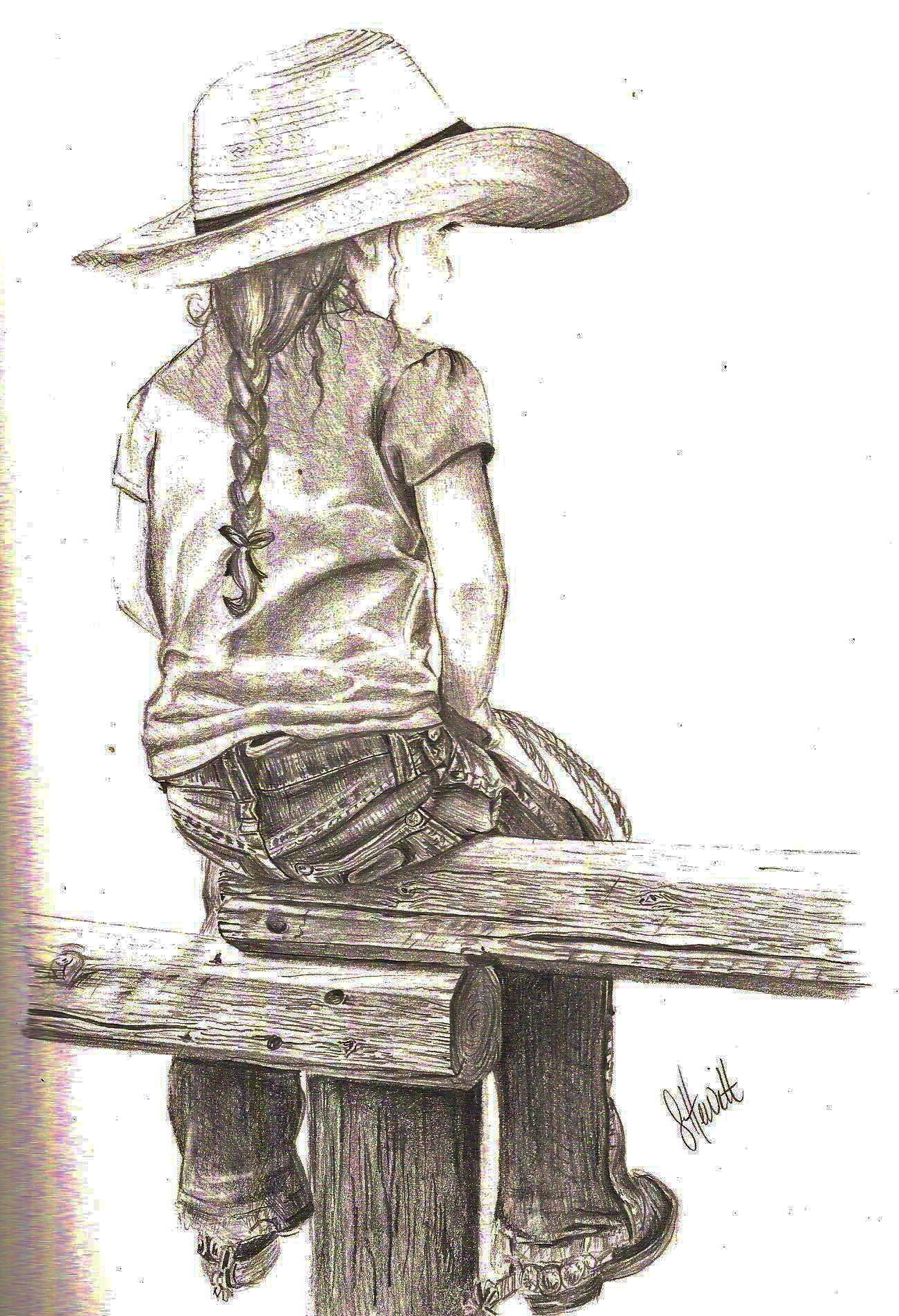 "my latest drawing.... with 4 little cowgirls of my own, I have great inspiration. ""Little Cowgirl"""