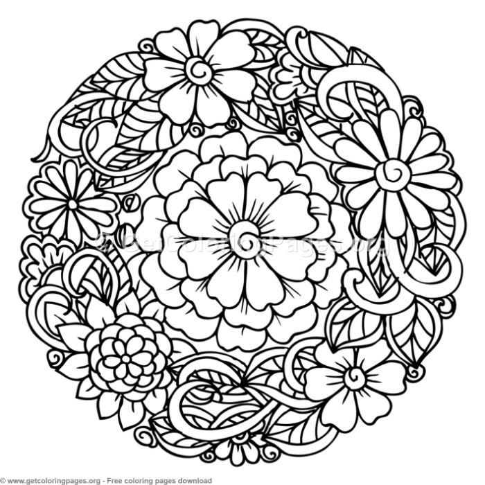 2 Zentangle Round Mandala Coloring Pages Getcoloringpages Org Free