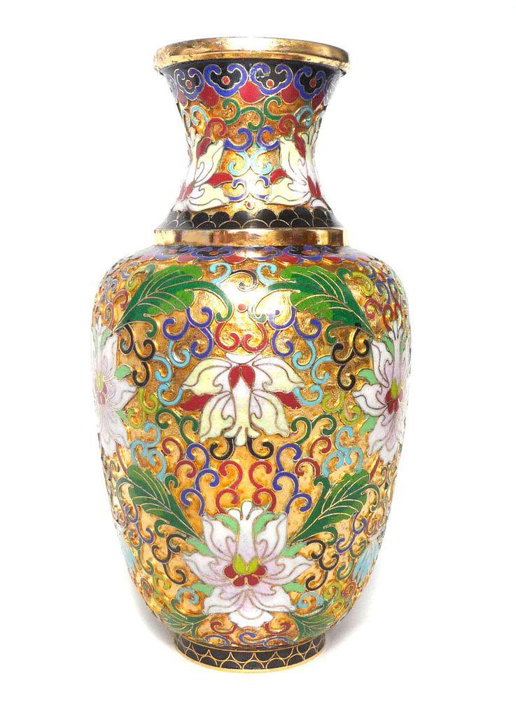 Stunning Rare Vintage Chinese Champleve Cloisonne Vase Raised Enamel Amp Gold Trim Cloisonne