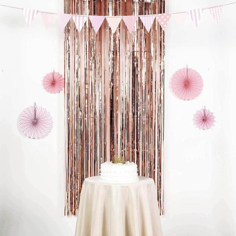 Rose Gold Fringe Photo Booth Backdrop, Streamer Backdrop for Bridal Shower, Baby Shower Decor