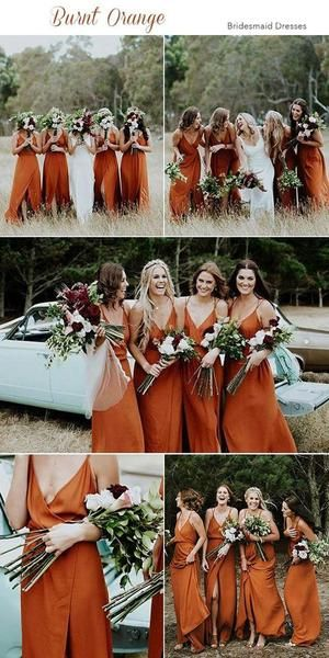 2020 Cheap Spaghetti Straps Simple Popular A-Line V-Neck Orange Fall Bridesmaid Dresses with Split , WG302 2020 Cheap Spaghetti Straps Simple Popular A-Line V-Neck Orange Fall Bridesmaid Dresses with Split , WG302 #fallweddingideas