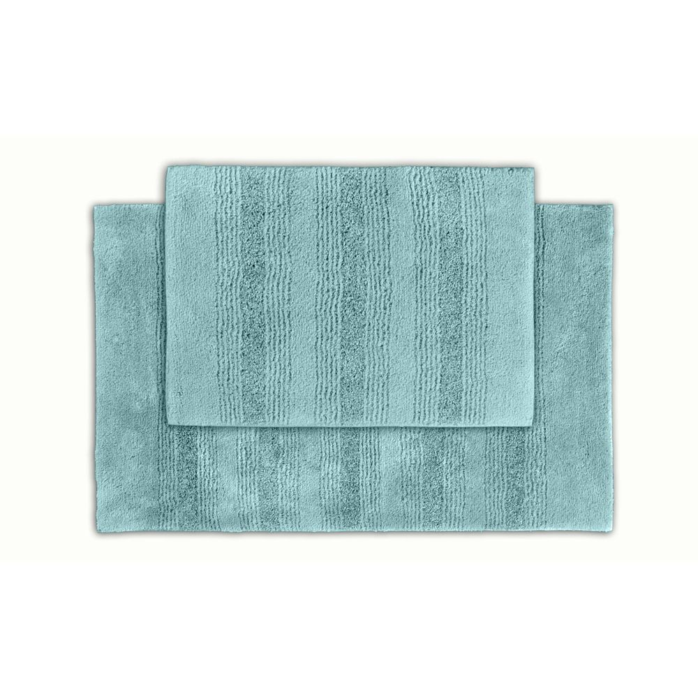Somette Westport Stripe Sea Foam Washable 2 Piece Bath Rug