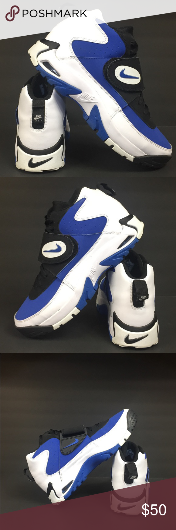 0ab48b4115 Nike Air Mission Junior Seau Black, white and blue Junior Seau. Used in  good condition. No box. Signs of wear shown in photos (soles-top&bottom),  ...