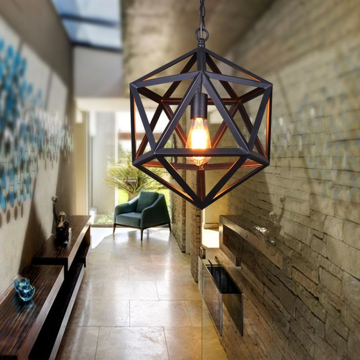 Industrial Vintage Loft Steel Polyhedron Pendant Light Ceiling Lamp Chandelier In Home Garden Lamps