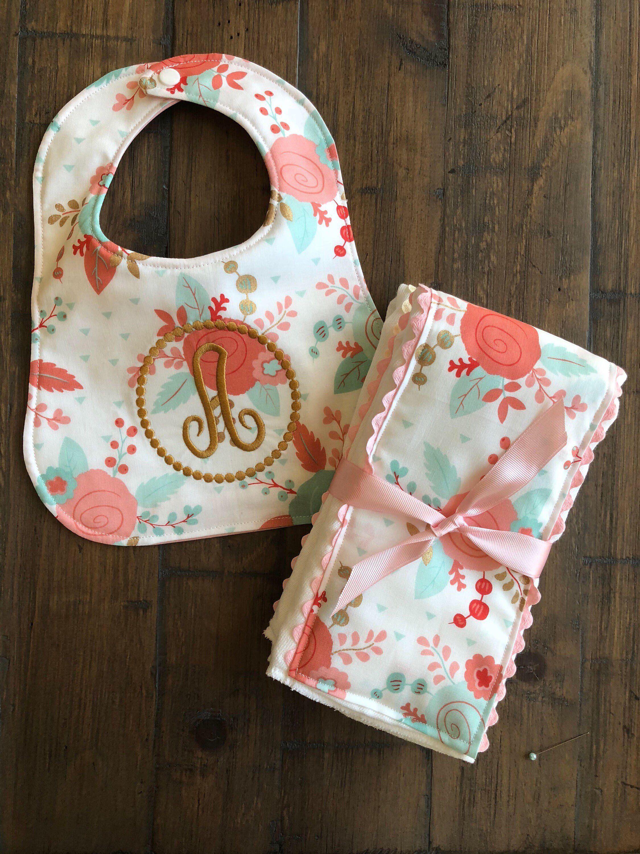 New Handmade Personalized Pink Baby Girl Sleeping Bear Bib and Burp Cloth Set