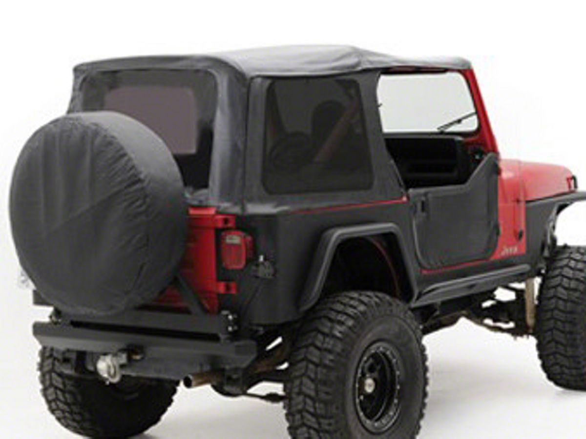 Smittybilt Jeep Wrangler Oem Replacement Soft Top W Tinted Windows Black Denim 9870215 87 95 Jeep Wrangler Yj W Factory Soft Top Half Doors Soft Tops Jeep Wrangler Yj Jeep