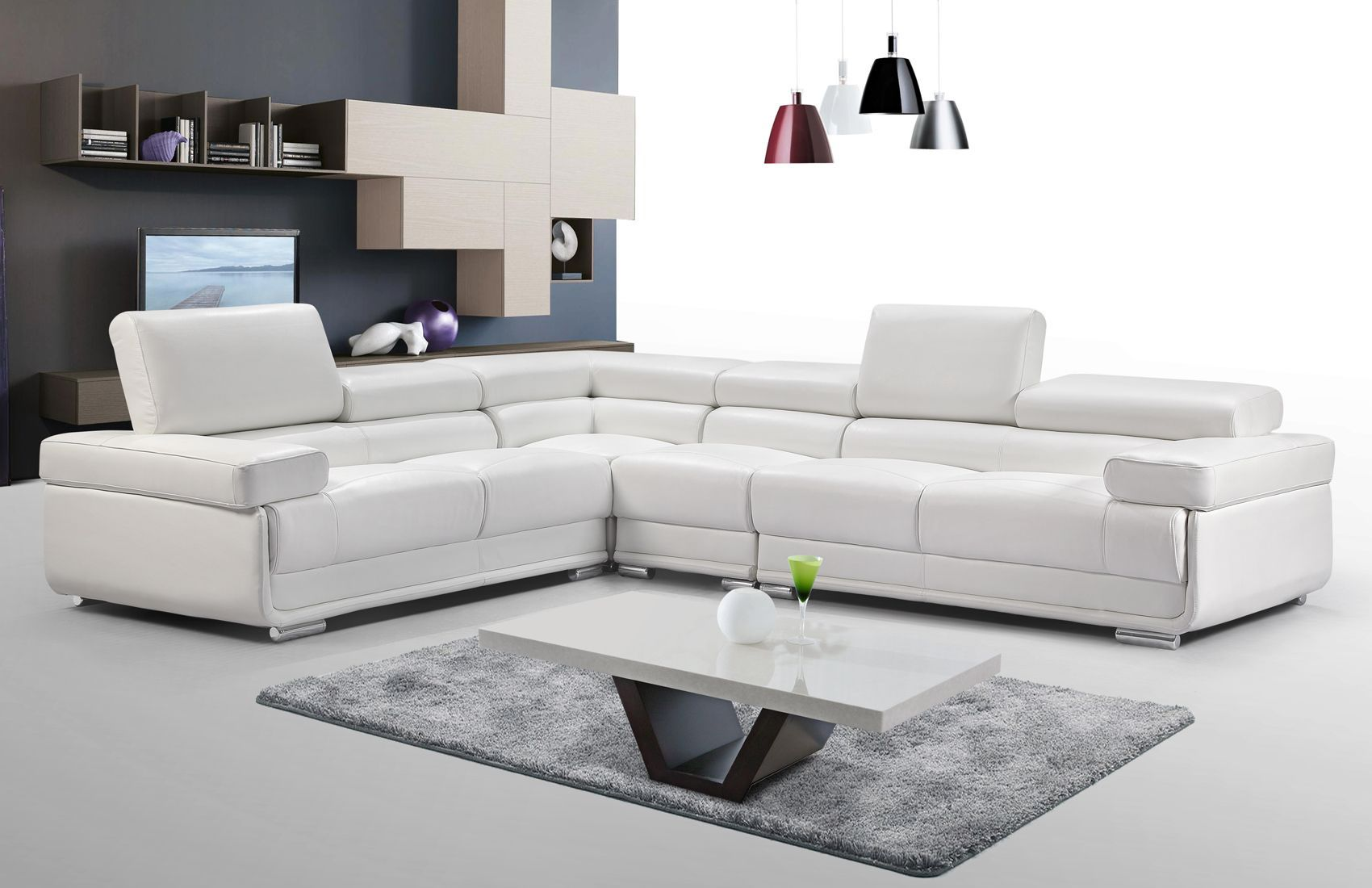 2119 Left Sectional White By Esf White Sectional Sofa White Sectional Modern Sofa Sectional
