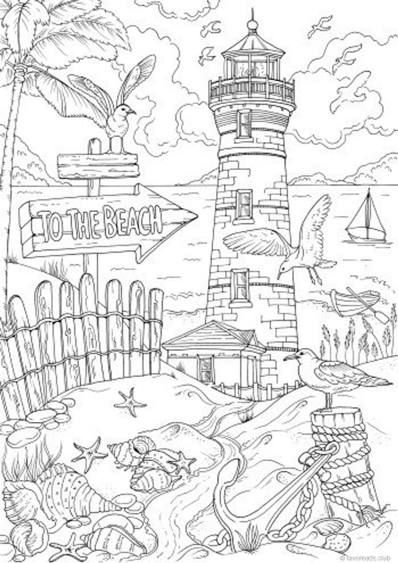 To The Beach - Printable Adult Coloring Page from Favoreads Coloring book pages for adults and kids Coloring sheets Coloring designs