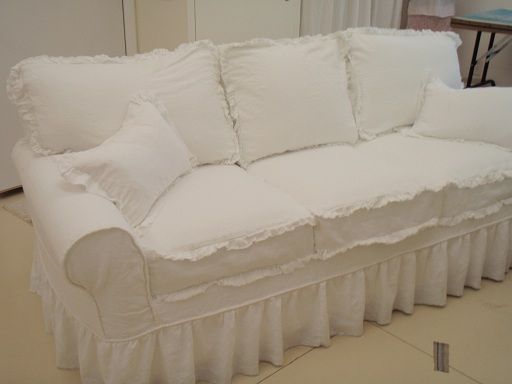 Ruffle Slipcovered Sofa Re Do Using Linen And Frayed Edges