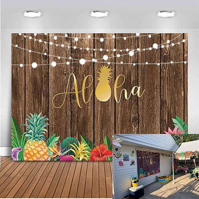 Mocsicka Aloha Party Decorations 10x7ft Vinyl Fabric Summer Luau Party Tropical Hawaiian Beach Backdrop Tiki Hawaii Party Photography Background