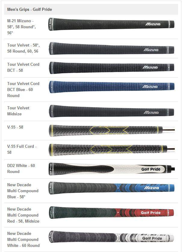 4aae5bff30bf Mizuno Grip Options | Golf | Golf, Golf clubs, Club