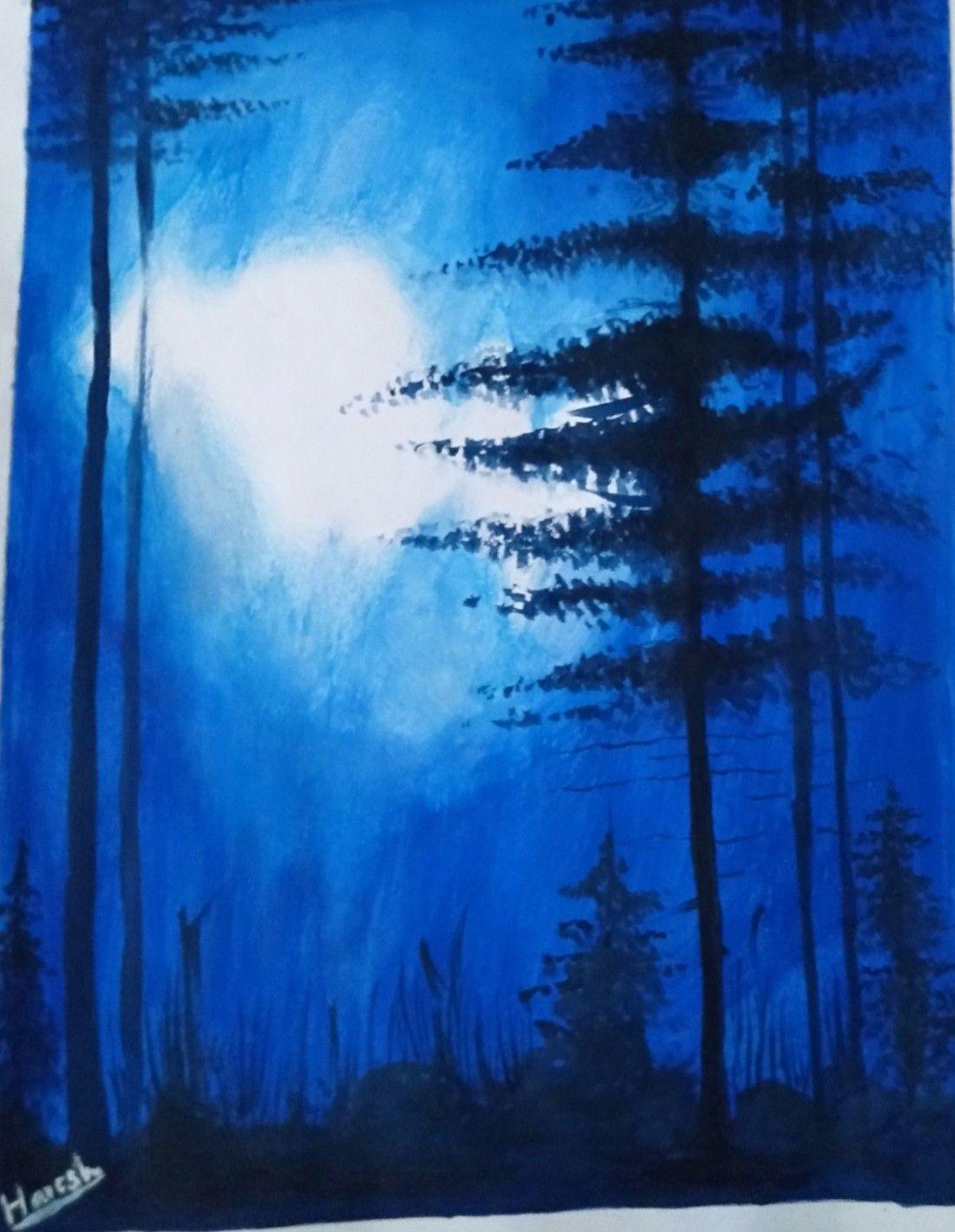 Night Mode Scenery By Haresh Sahani Scenery Artwork Painting
