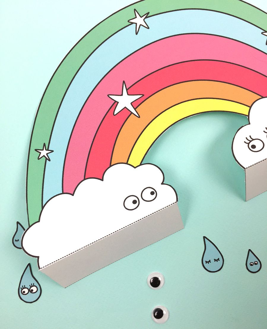 FREE PRINTABLE PAPER RAINBOW WITH COLORING OPTION | ESL | Pinterest ...