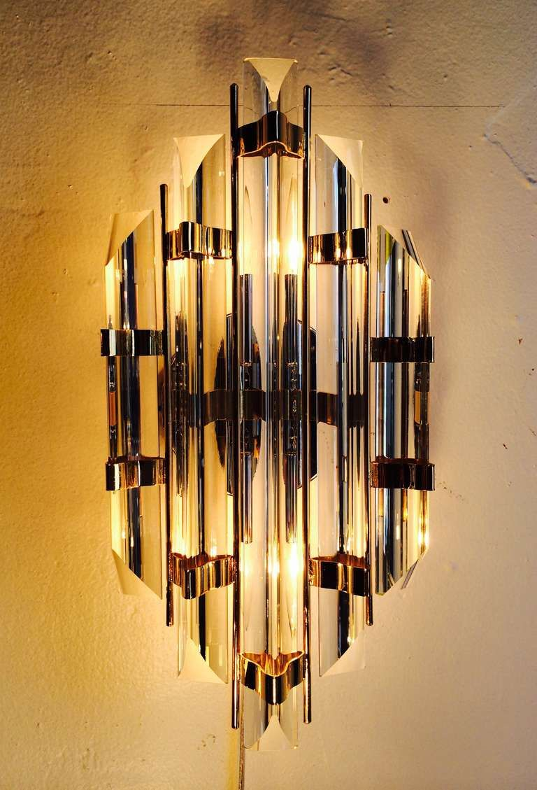 Pair of Murano Glass Wall Sconces Designed by Venini | From a unique ...