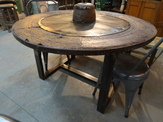 Antique cart wheel dining table with industrial base: | IDEAS ...