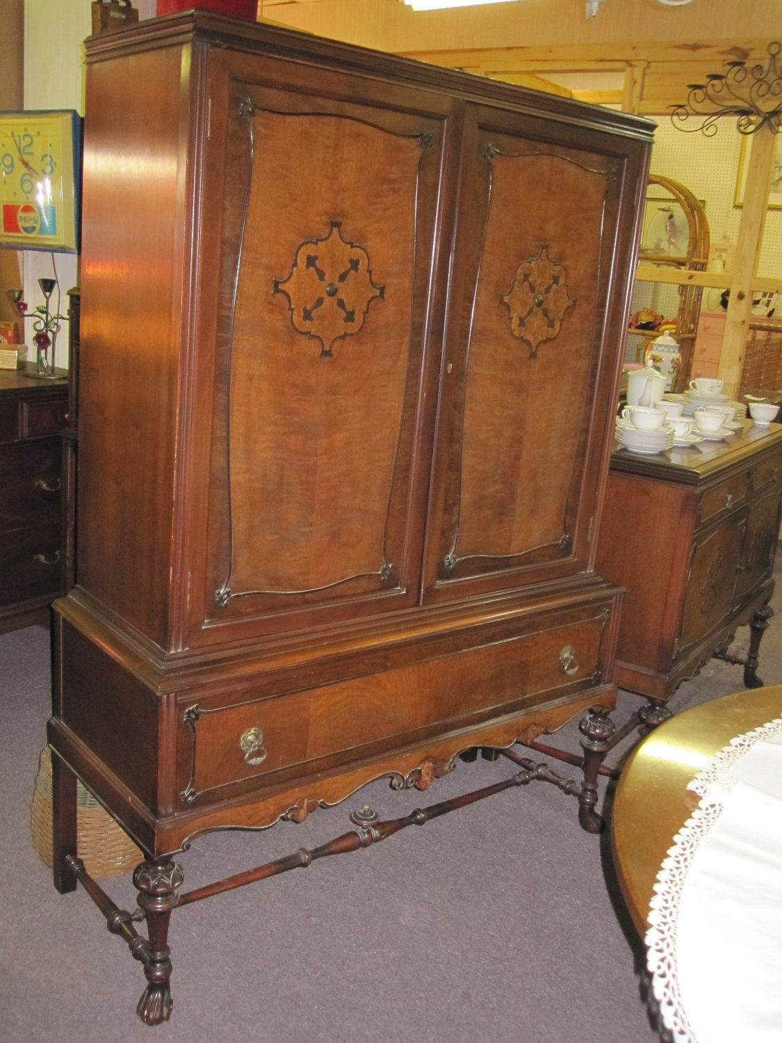 Items similar to Antique Hutch on Stand by the Lammert Furniture Company,  St. Louis, MO on Etsy - Antique Hutch On Stand By The Lammert Furniture Company, St. Louis